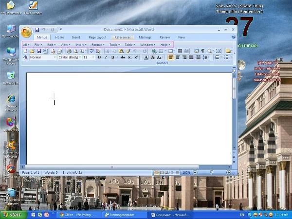 Office 2007 và 2010 dùng menu Office 2003 8