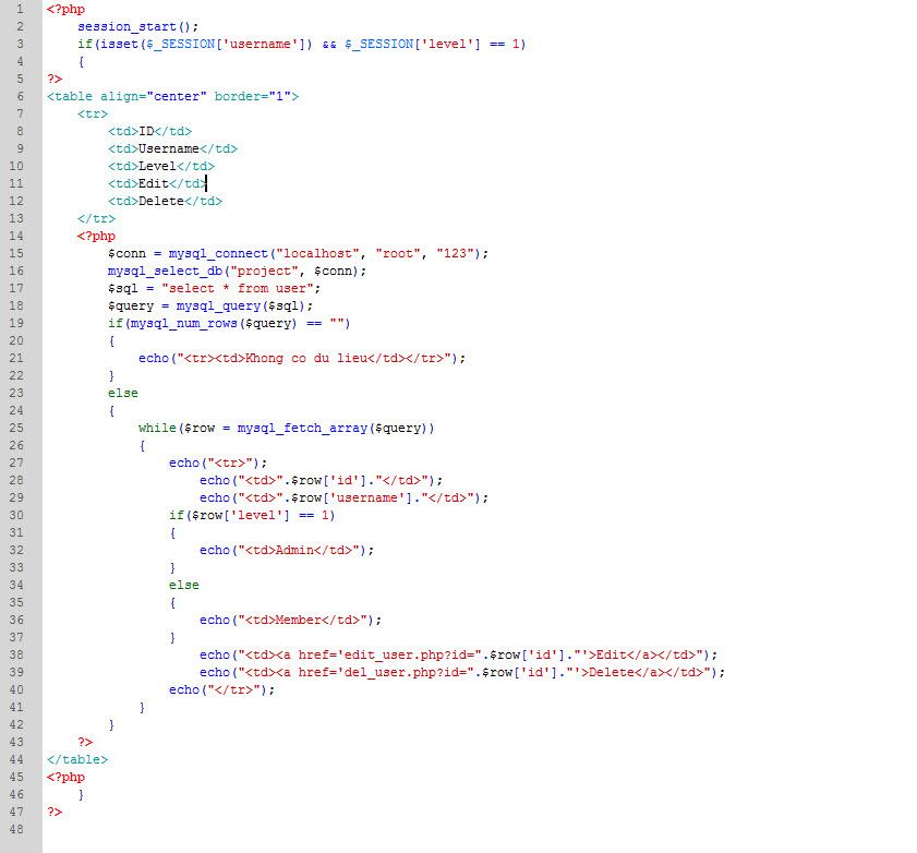 PHP cơ bản - Bài 12: Viết ứng dụng quản lý thành viên bằng PHP và MYSQL 6