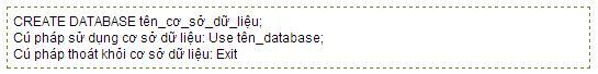Cú pháp tạo cơ sở dữ liệu