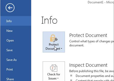 Đặt mật khẩu bảo vệ trong Office 2015