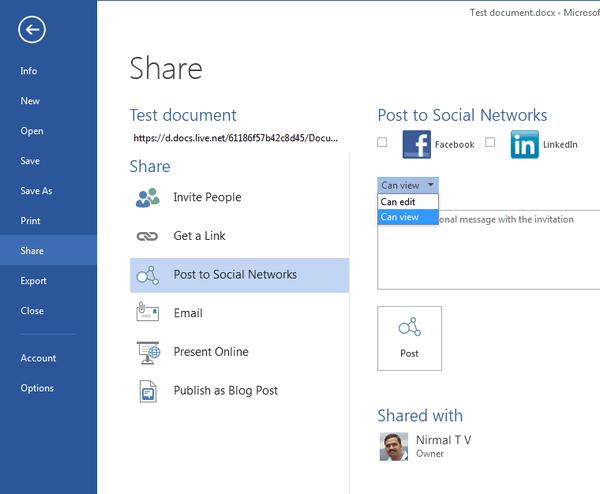 Hướng dẫn tích hợp ứng dụng với mạng xã hội trong Office 2015