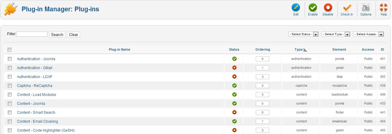 Quản lí các thành phần trong Joomla