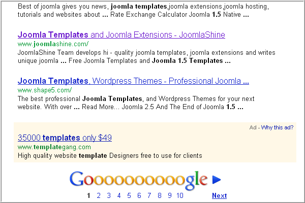 Từ khóa của JoomlaShine trên kết quả tìm kiếm của Google