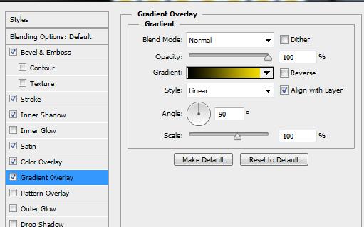 Hiệu ứng Chữ Vàng Photoshop CS6
