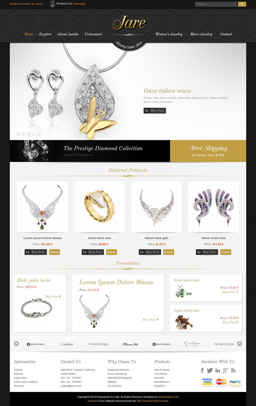 SJ JARE - Thiết kế website : Bán đồ trang sức