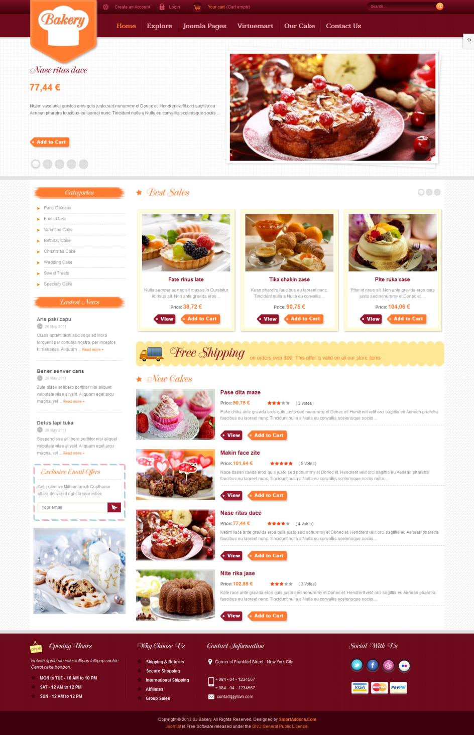 SJ Bakery - website cửa hàng bánh