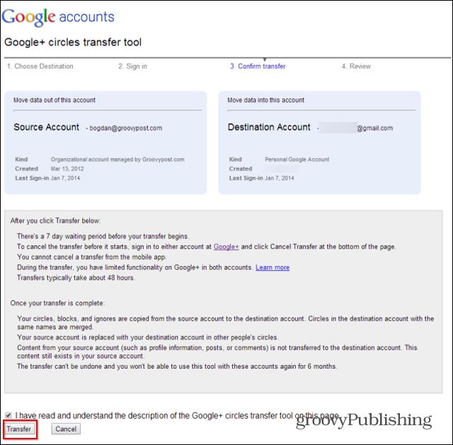 Chuyển dữ liệu hợp nhất 2 tài khoản google+