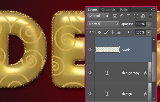 Hiệu ứng chữ sử dụng vàng kim loại