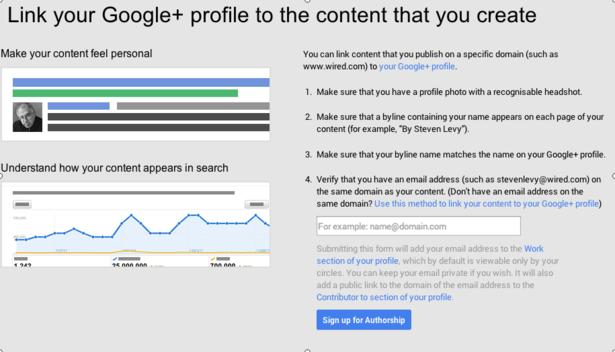 đăng ký tác giả trên google