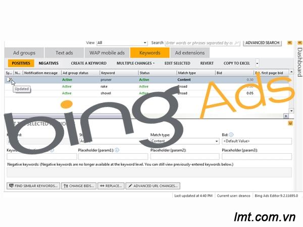 Công cụ Bing Ads Editor - phần 2 : Một số hiểu biết và lời khuyên sử dụng 3