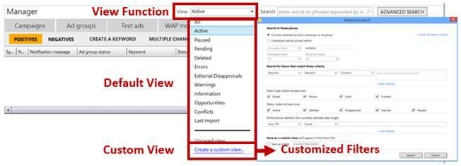 chức năng truy vấn của Bing Ads Editor