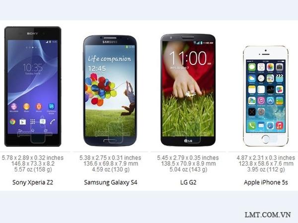 Xperia Z2 to và nặng hơn LG G2, Galaxy S5 1