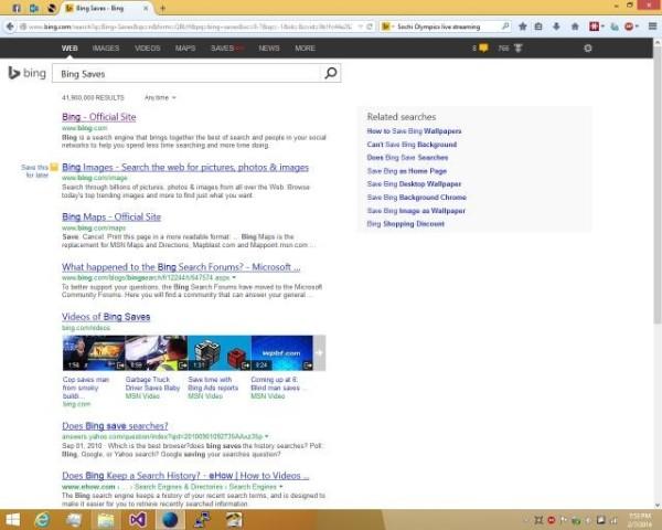 """tính năng đánh dấu tìm kiếm """"Bing Saves"""""""