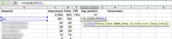 sử dụng vlookup cho báo cáo google webmaster tools