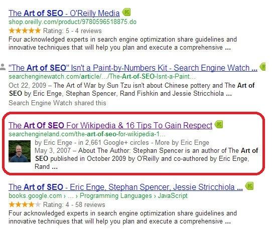 bản quyền tác giả hiện thị trên trang tìm kiếm
