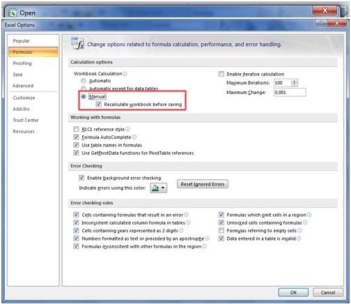 khôi phục file excel bằng cách tắt bảng tính