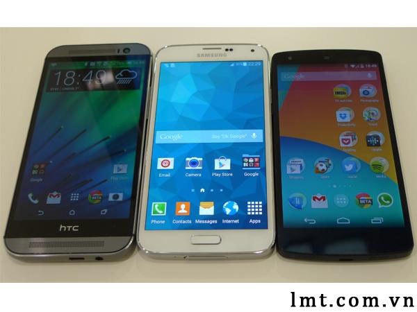 So sánh cận cảnh Samsung Galaxy S5, HTC One M8 và LG Nexus 5 1