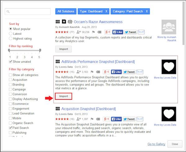 Google Analytics :5 bước nhanh chóng để sử dụng Solutions Gallery