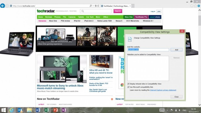 Sửa lỗi cho trình duyệt Internet Explorer trên window 8