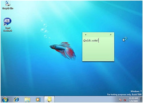 ứng dụng sticky notes trong windows 7