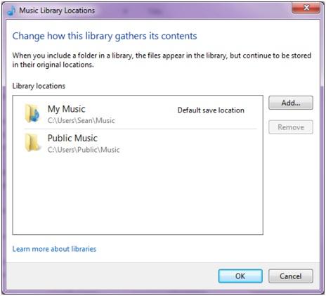 Thư viện nghe nhạc trong windows 7