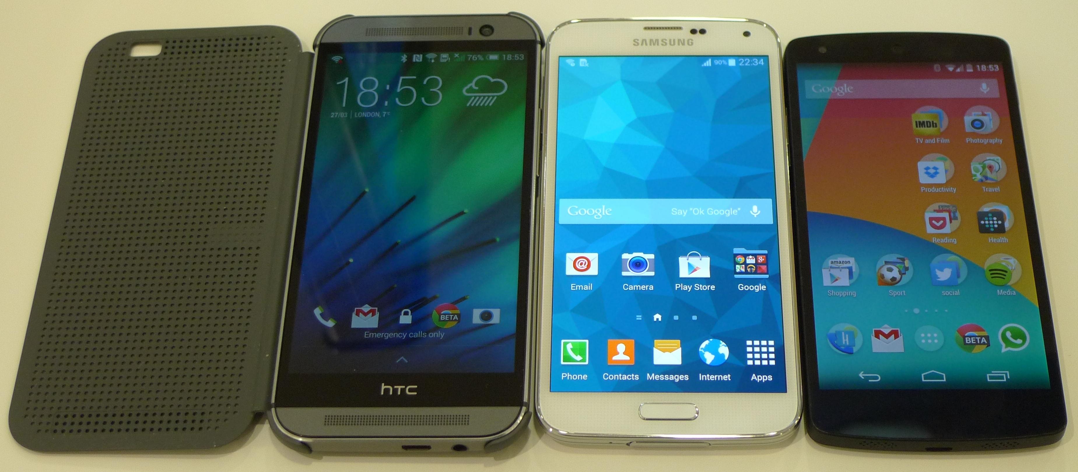 So sánh cận cảnh Samsung Galaxy S5, HTC One M8 và LG Nexus 5 4