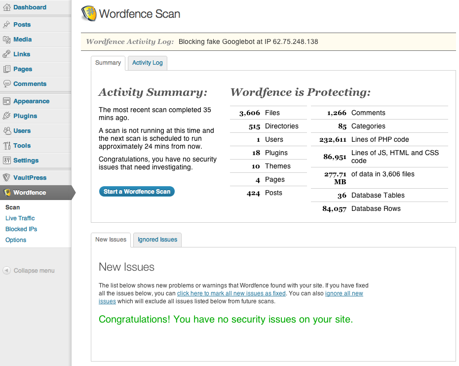 wordfence security trong wordpress