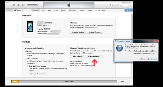 khôi phục backup dữ liệu ios 8