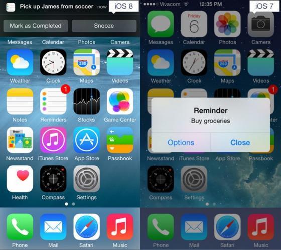 So sánh tính năng giữa iOS 8 và iOS7 8