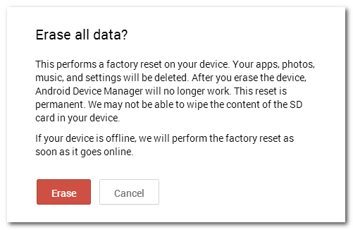 Tính năng bảo mật dữ liệu khi làm mất điện thoại Android 5