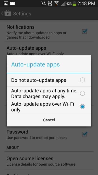 Chỉ cập nhật ứng dụng qua Wi-Fi