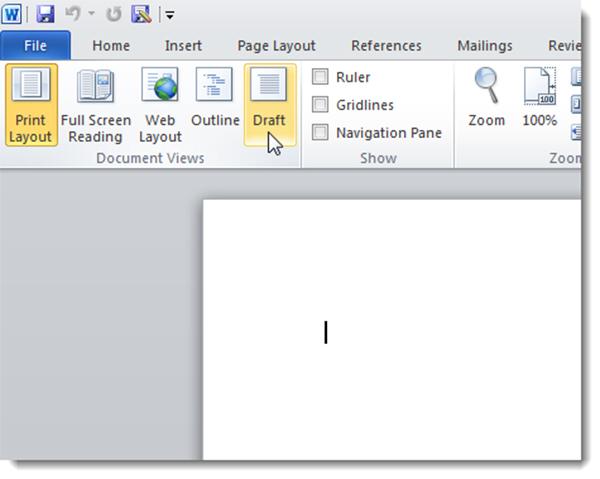 vào tab View rồi chọn Draft trong phần Document Views