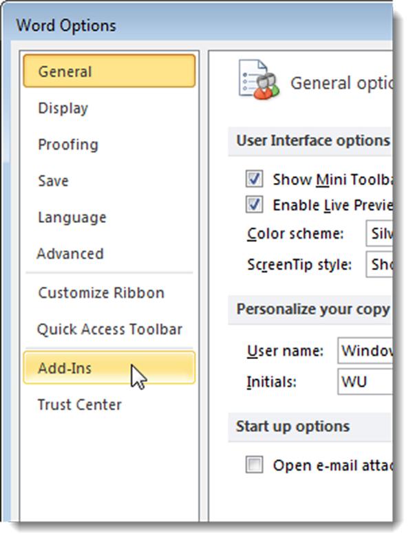 Với word 2007, vào Microsoft office rồi vào word options