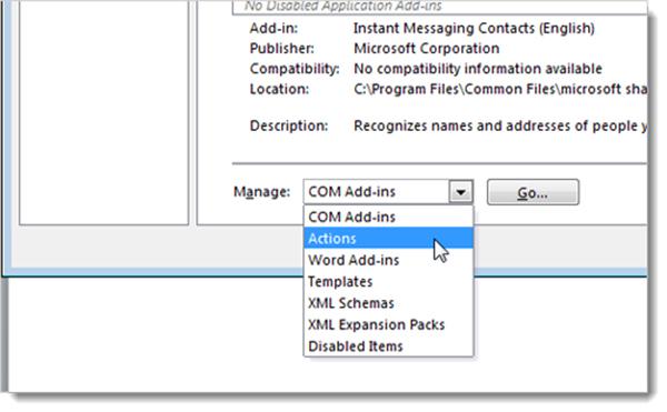 chọn đúng loại add-in tương ứng trong mục Manage