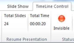 Xem tổng thời gian của bài thuyết trình tại ô Total Time