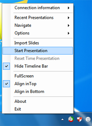 Chọn Start Presentation để bắt đầu trình chiếu