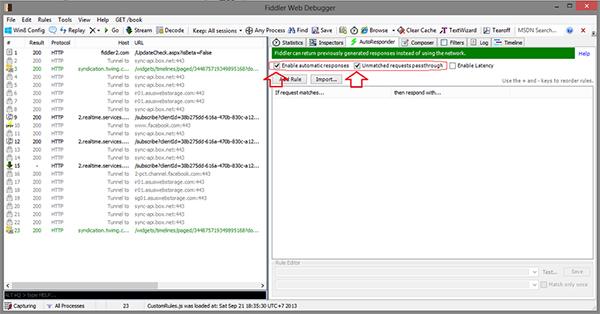 chọn AutoResponder và stick vào ô Enable Automatic Responder và Unmatch requests passthrough