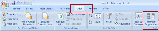 chọn menu Data -> nút Remove Duplicate