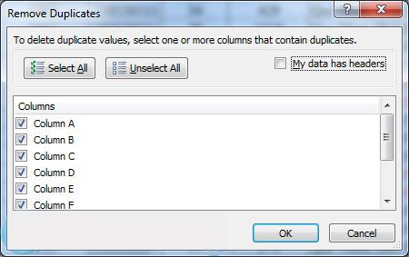 2 nút lệnh trong hộp thoại Remove Duplicate
