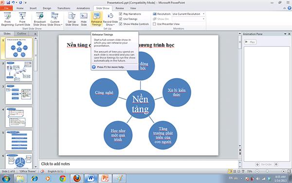 Ấn định thời gian trình diễn cho mỗi slide