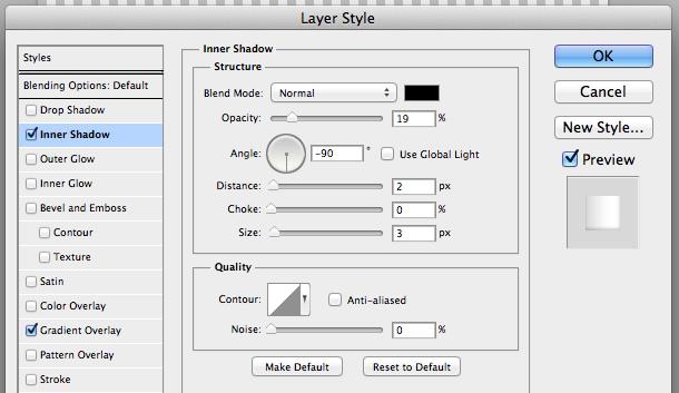 Áp dụng một Inner Shadow cho shape layer