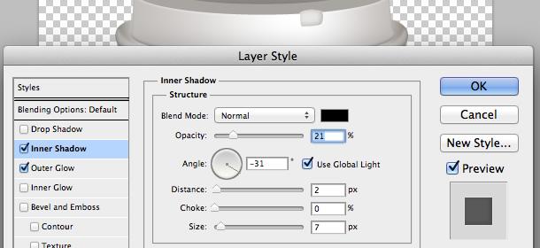 Cho hình mới một inner shadow