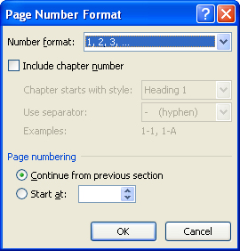 Thay đổi định dạng số trang