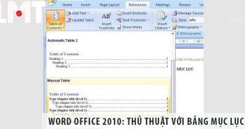 Word Office 2010: Thủ thuật với bảng mục lục