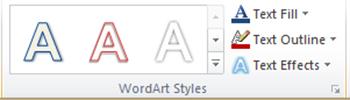 WordArt Styles ở menu Drawing Tools