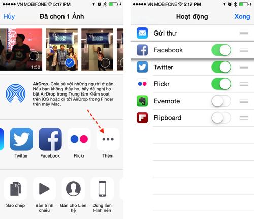 Sắp xếp lại giao diện chia sẻ của iOS