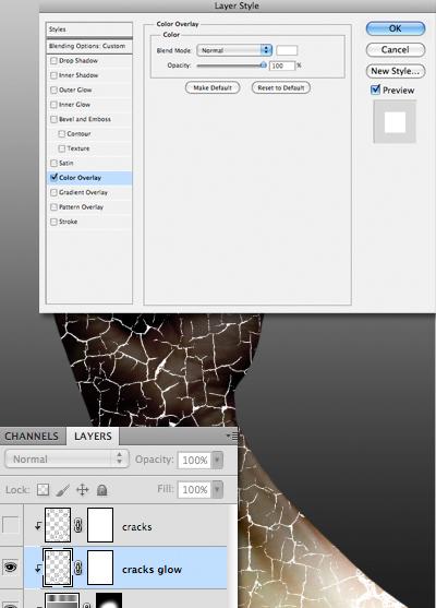 Click chuột vào Color Overlay và thiết lập màu trắng