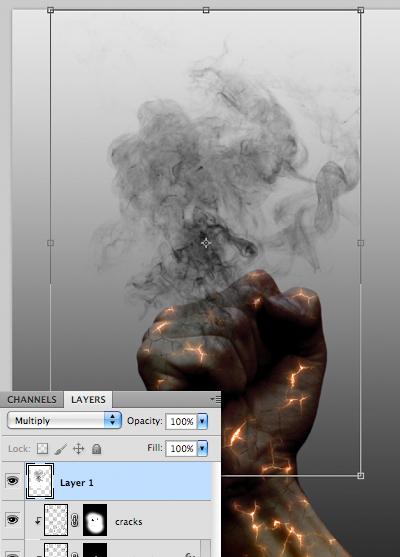 Sử dụng Move Tool để định vị khói thuốc