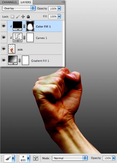 Thiết lập chế độ hòa trộn của layer Color Fill cho Overlay