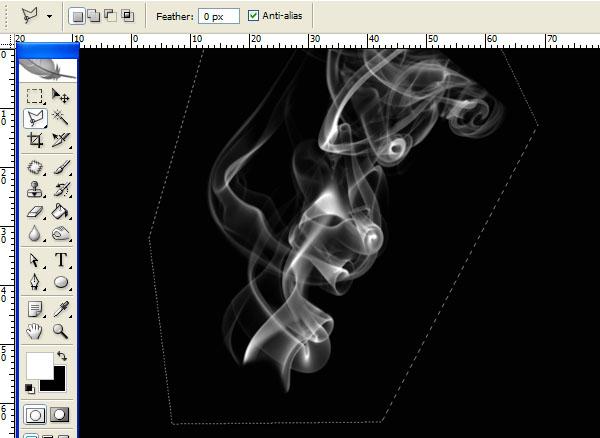 vẽ  một vùng chọn xung quanh khói